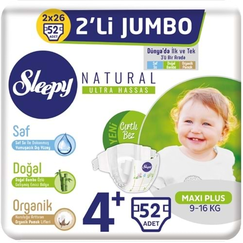 Sleepy Bebek Bezi Naturel Beden:4+ (9-16Kg) Maxi Plus 52 Adet Dev Pk