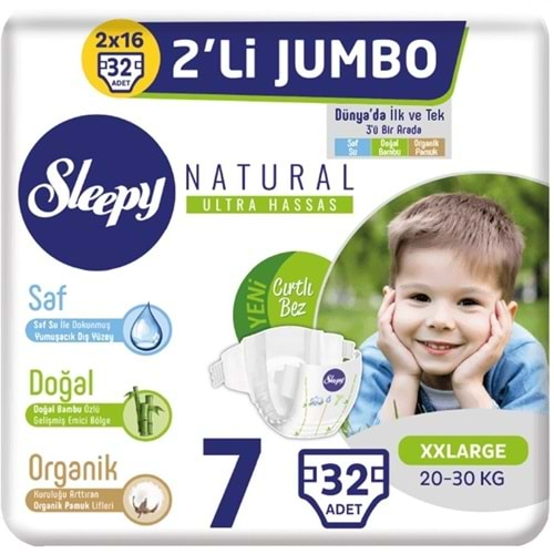 Sleepy Bebek Bezi Naturel beden:7 (20-30Kg) XX Large 32 Adet Dev PK