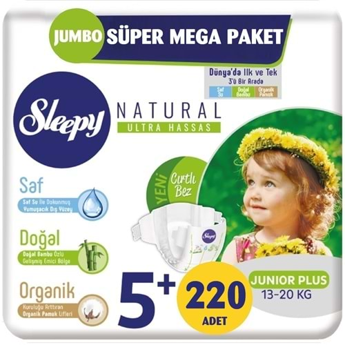 Sleepy Bebek Bezi Naturel Beden:5+ (13-20Kg) Junior Plus 220 Adet Jumbo Süper Mega Pk